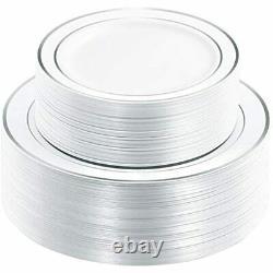 120pcs Plaques En Plastique Argent-déposable Avec Rim- Soirée De Mariage Incluant Le Dîner