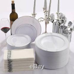 144 Pièces D'argent En Plastique 144 Assiettes À Dessert En Plastique D'argent, Rim