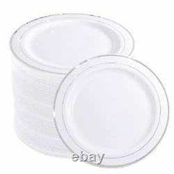 144 Pièces Plaques De Dessert En Plastique Argenté 7.5 Pouces Salade Jetable Premium Rim