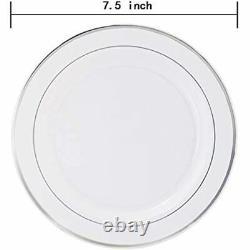 144 Pièces Plaques De Dessert En Plastique D'argent, 7.5 Pouces Salade Jetable Premium Rim