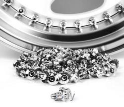150 X Argent Chromé Plastique Roue Rivets Nuts Rim Lip Remplacement Alloys Goujons S
