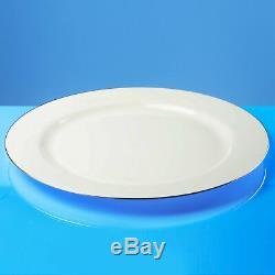 160 X Assiettes En Plastique Blanches Résistantes Avec Bord En Argent, 10 / 26cm