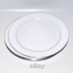 160x 9 / 22.8cm Dîner En Plastique Blanc Plaques D'argent Rim Heavy Duty À Usage Unique