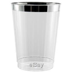 300 X 10 Oz Effacer Gobelets / Lunettes En Plastique Solide Jetable Argent Brillant Rim