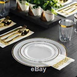 350 Pièces D'or De Vaisselle 50 Clients D'or Rim En Plastique Plaques D'or 50