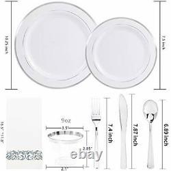 350pcs Plaques En Plastique Avec Des Plastiques Jetables & Napkins- Rim En Plastique Argent