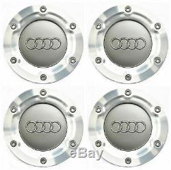 4 Pièces 146mm Pour Audi Argent Roue Centre Caps Hubcaps Rim Caps 8n0601165a Emblem