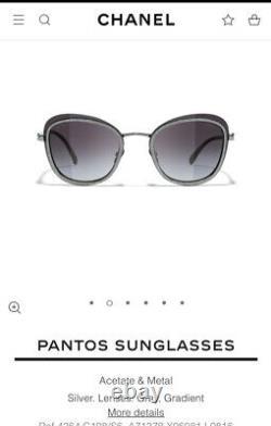 490 $. Chanel Courant 2021 Sty. Pantos Silver Tweed Metal Inside Rim Nouveau