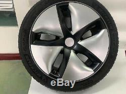 4pcs Car Hubcaps Caps Rim Cover Pour Tesla Model 3 2016-2019 18 Moyeu De Roue D'argent