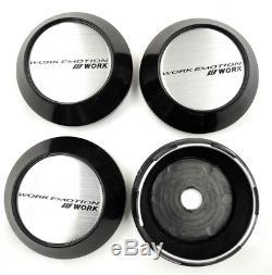 4x68mm Travail Emotion Argent Roue Centre Caps Hubcaps Rim Caps Badges Emblèmes