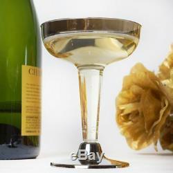 5 Oz Clair Avec Des Verres À Martini En Plastique En Plastique De Jante Argenté Noce Vente Vente De Vaisselle