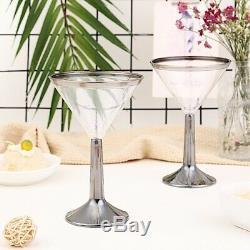 5 Verres En Plastique Jetables En Verre Jetables En Verre De Cocktail De Cocktail Argentés De Jante