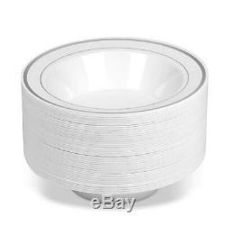 50 Bols À Soupe En Plastique Jetables À Rebords En Argent Blanc 14 Oz. Premium Lourd
