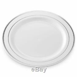 50 Plastique Jetables Dîner Plaques 10,25 Pouces Blanc Avec De L'argent Réel Rim Ch