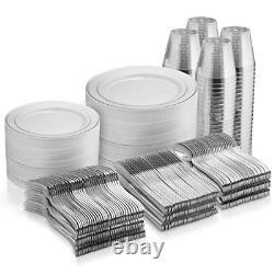 600 Piece Silver Dinnerware Set -100 Silver Rim 10 Pouces Plaques En Plastique 100 Jante 7