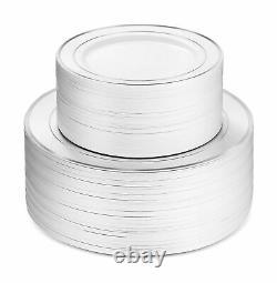600 Piece Silver Dinnerware Set -100 Silver Rim 10 Pouces Plaques En Plastique 100 Si