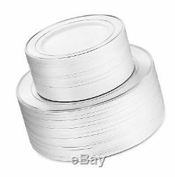 600 Pièces D'argent De Vaisselle -100 Rim Argent 10 Pouces Plaques En Plastique 100 Si