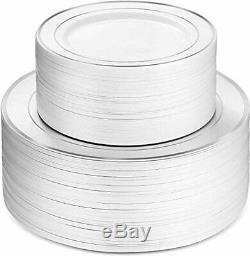 600 Pièces D'argent De Vaisselle -100 Rim Argent 10 Pouces Plaques En Plastique 100 Silve