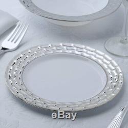 7.25 Assiettes En Plastique Blanches Avec Rebords Argentés Pour Réception De Réception De Mariage
