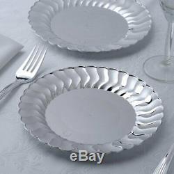 7,5 Assiettes En Plastique De Partie Apéritif Argentée De Dessert Avec La Jante Évasée Jetable