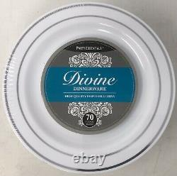 7 Party Essentials White Avec Plaques De Jante Argentée (6 Paquets De 70 Assiettes)