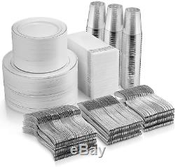 700 Piece Argent Dînette 200 Argent Rim Plastique Plaques 300 Argent En Plastique