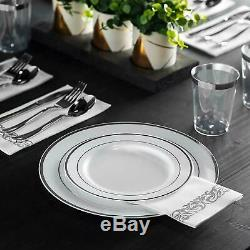 700 Pièces D'argent Arts De La Table En Plastique Set Party Rim Supplies Kit Pour 100 Clients