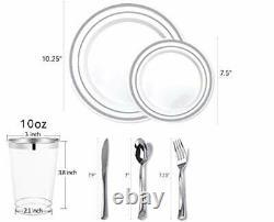 700 Pièces Silver Dinnerware Set 200 Silver Rim Plaques En Plastique 300 Argent