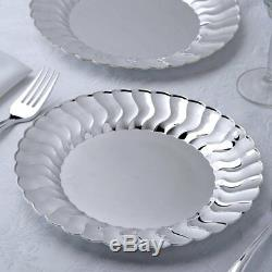 9 Assiettes En Plastique De Fête Argentées Avec Vente De Vaisselle Jetable De Vaisselle À Rebord Évasé