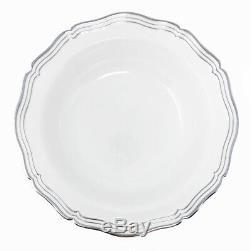Aristocrate Collection 10 Oz Blanc Avec Silver Rim Soup En Plastique Bols 10ct
