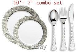 Assiette En Plastique Jetable En Argent Avec Tête Martelée Et Couverts Métalliques