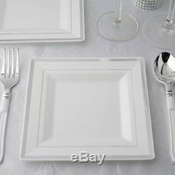 Assiettes Carrées Blanches En Plastique 6,5 Avec Jante Argentée Pour Mariage