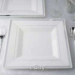 Assiettes Carrées En Plastique Blanches 10,75 Avec Alliances Jetables Pour Mariage En Argent