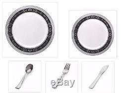 Assiettes En Plastique Blanches, Blanches, Noires, Argentées, Comme Des Assiettes En Plastique, 750 Pièces