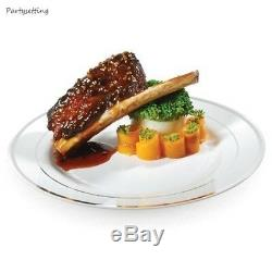 Assiettes En Plastique De 120 Ct En Plastique, Style Chine, Style Chef-d'œuvre De Jante Blanc-argent