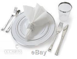 Assiettes En Plastique Jetables De Mariage, Argenterie, Gobelets Cerclés D'argent + Serviettes De Table