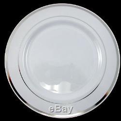 Assiettes En Plastique Jetables De Vaisselle De Noce Assiettes Rondes Avec Rebord D'argent 7in