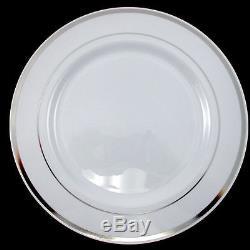 Assiettes En Plastique Jetables Dîner / Mariage / Fête Blanc / Bord