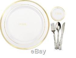 Assiettes En Plastique Jetables En Vrac, Dîner / Mariage, Argent, Bord Blanc / Or