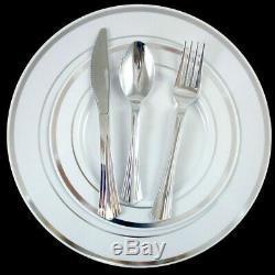 Assiettes En Plastique Jetables En Vrac, Dîner / Mariage Et Bordure Argentée Blanche