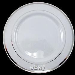 Assiettes En Plastique Jetables En Vrac Pour Le Dîner / Le Mariage, Bord Blanc / Argent