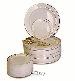 Assiettes En Plastique Jetables Pour Fêtes De Mariage Et Argenterie Dorée À Personnaliser