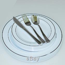 Assiettes En Plastique Jetables Pour Le Dîner Et Le Mariage, Argenterie / Or / Bordure En Or Rose