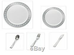 Assiettes Et Couverts En Plastique De Mariage Jetables Decorline, Blanc Crème, Or, Argent