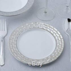 Assiettes Rondes En Plastique Blanc 7,25 Avec Jeté Texturé Argenté Pour Mariage À Bord