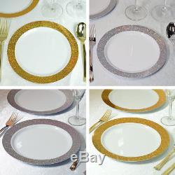 Assiettes Rondes En Plastique Blanc Avec Vaisselle Jetable De Mariage De Partie De Bord De La Poussière