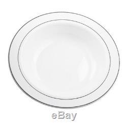 Blanc De Cuvettes De Soupe En Plastique De 160 X 12oz Avec La Jante Argentée Résistante Jetable