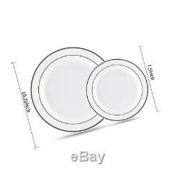Blanc Lourd De 60pcs Avec Les Assiettes En Plastique De Noce De Jante Argentée, Chine Pl