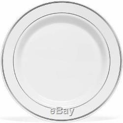 Bloomingoods Argent Rimmed Plates Dîner En Plastique (100 Pack) 10,25 Pouces Heavywei