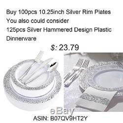 Bucla 100pieces Argent En Plastique Rim Argent Plaques-10.25inch À Usage Unique Pour Le Dîner